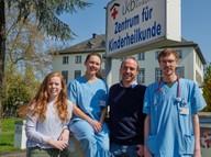 Doktorandin Caroline Kolvenbach, Dr. med. Alina Hilger, Prof. Dr. rer. nat. Benjamin Odermatt und Dr. med. Gabriel Dworschak.
